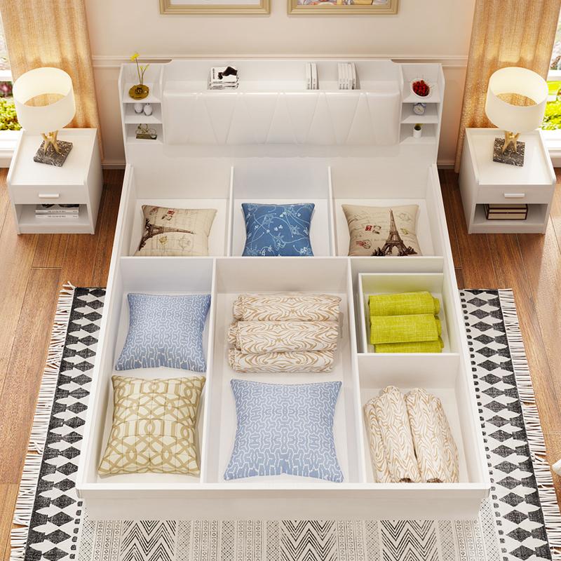 米小户型板式床收纳现代简约主卧床 1.5 米双人床 1.8 气动高箱储物床
