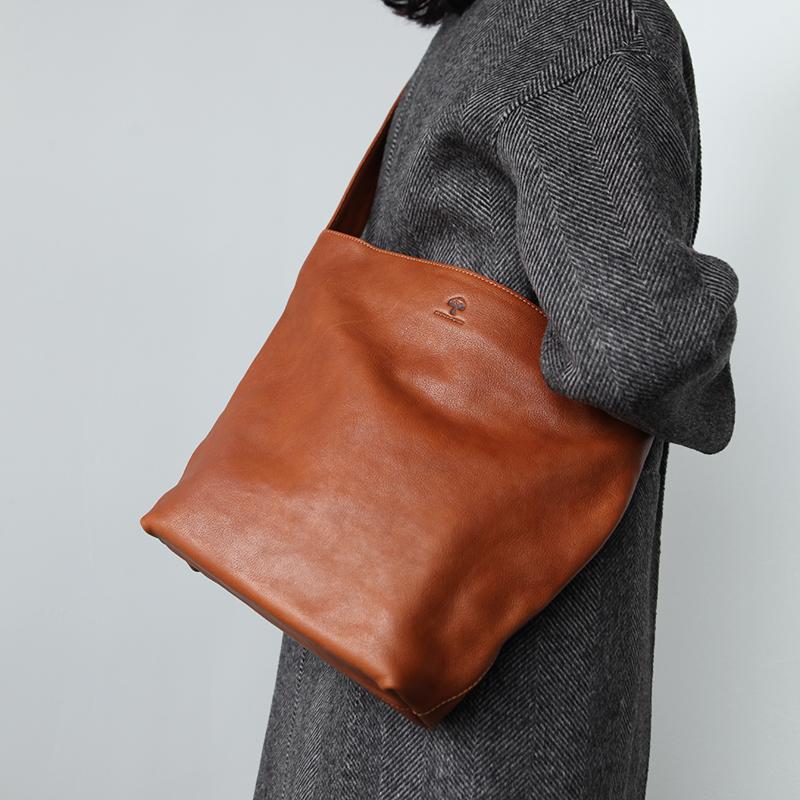 B082 布谷森林女式牛皮单肩斜挎包简洁粗肩带真皮包日系文艺大包包