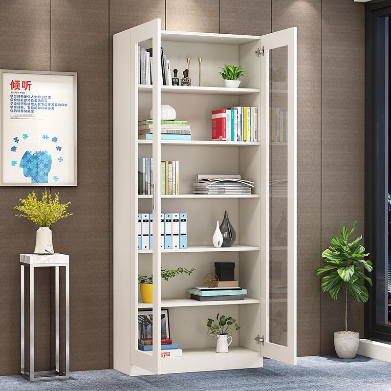办公文件柜木质办公室资料档案柜带玻璃书柜带锁家用收纳储物柜子