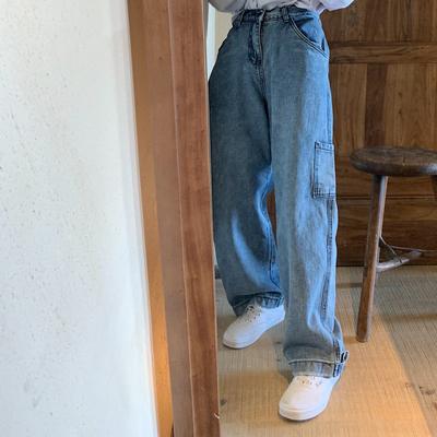 卤卤lulu高腰牛仔裤女直筒宽松阔腿工装bf风秋款显瘦垂感韩版长裤