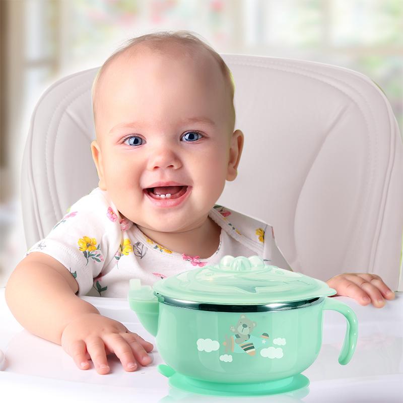 南极人儿童餐具宝宝注水保温碗勺套装婴儿不锈钢吸盘碗勺子辅食碗
