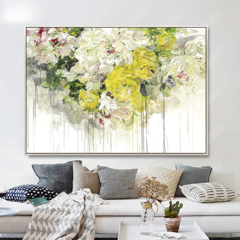 手繪牡丹油畫現代沙發背景墻裝飾畫歐式客廳餐廳抽象花卉掛畫定制