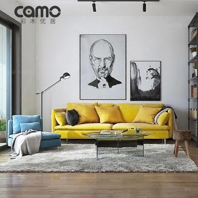 彩木優居 北歐布藝沙發現代簡約風格小戶型傢俱可拆洗乳膠三人位