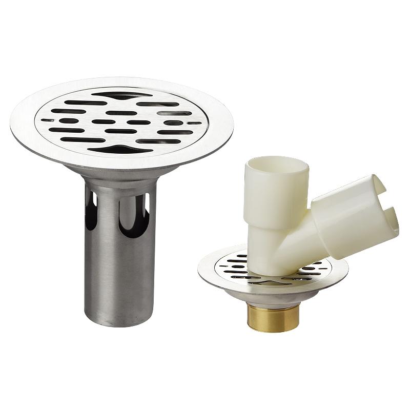 11cm不锈钢地漏防臭防虫地漏芯洗衣机下水圆形两用地漏110管专用