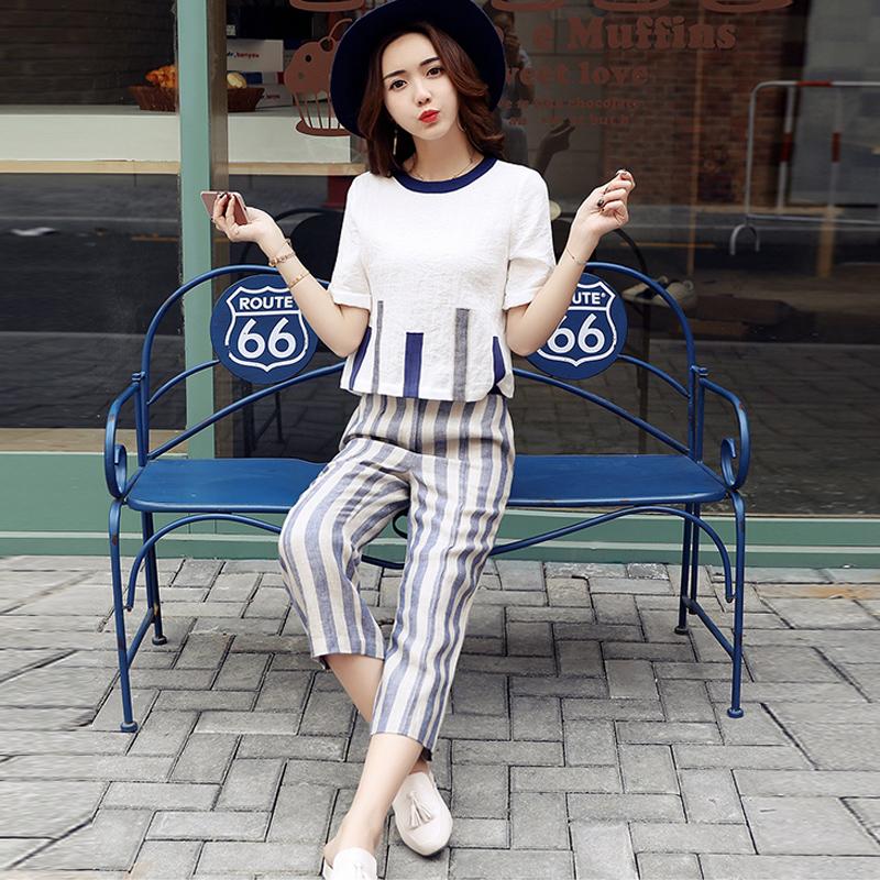 2017夏装新款条纹短袖T恤七分裤阔腿裤两件套时尚休闲棉麻套装女