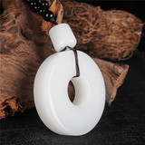 Xinjiang Hetian jade fat white jade hand piece genuine original stone seed material finger ring to play a piece of Kunlun jade car hanging