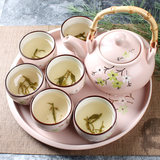 Yun Tang Japanese small fresh pink blue cherry blossom eight-piece set tea set teapot teacup ceramic tray