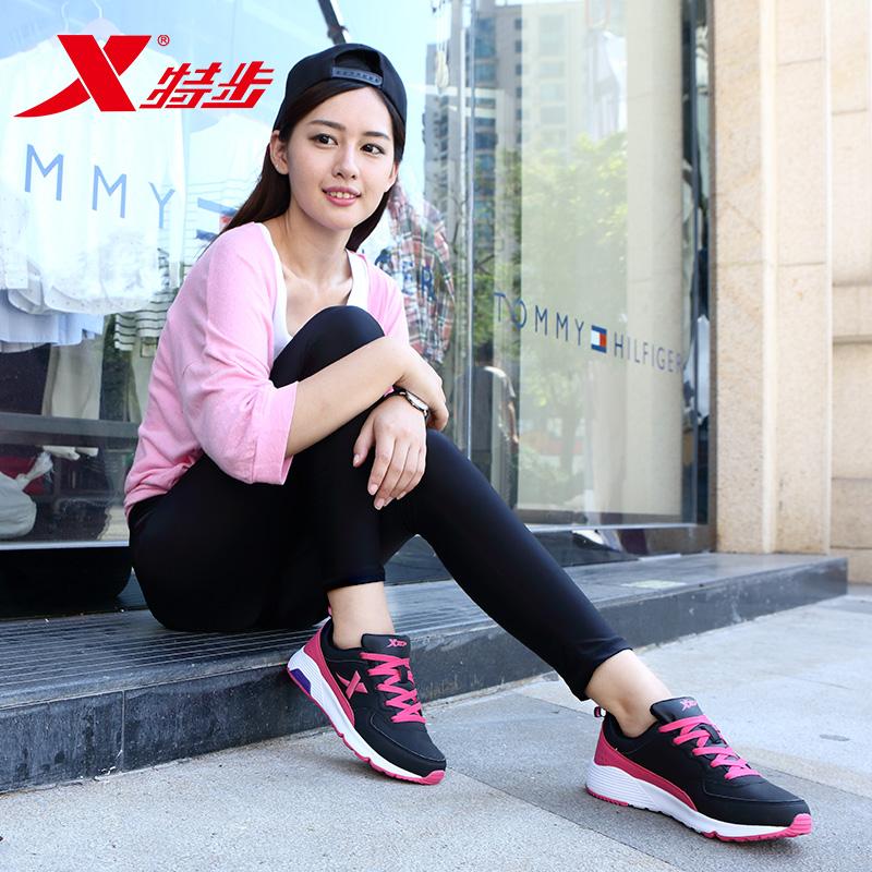 秋季新款正品运动鞋女士透气跑步鞋皮面旅游网面鞋子 2018 特步女鞋