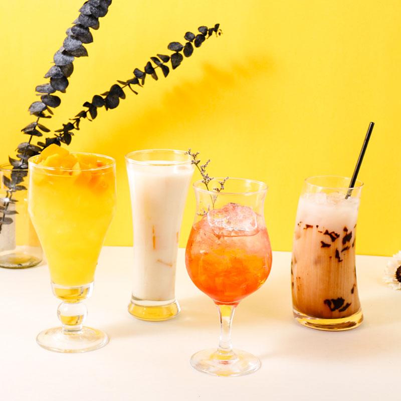 玻璃杯子水果果汁杯网红家用奶茶杯饮料杯奶茶店创意冷饮杯饮品杯