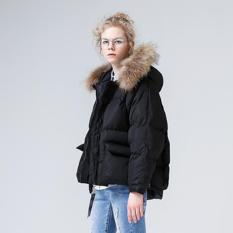 初语2018秋冬新款女装毛领连帽宽松面包服加厚羽绒服女短款外套