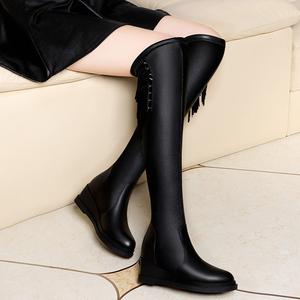 冬季流苏过膝长筒靴2017新款女平底长靴中跟坡跟显瘦腿弹力女皮靴