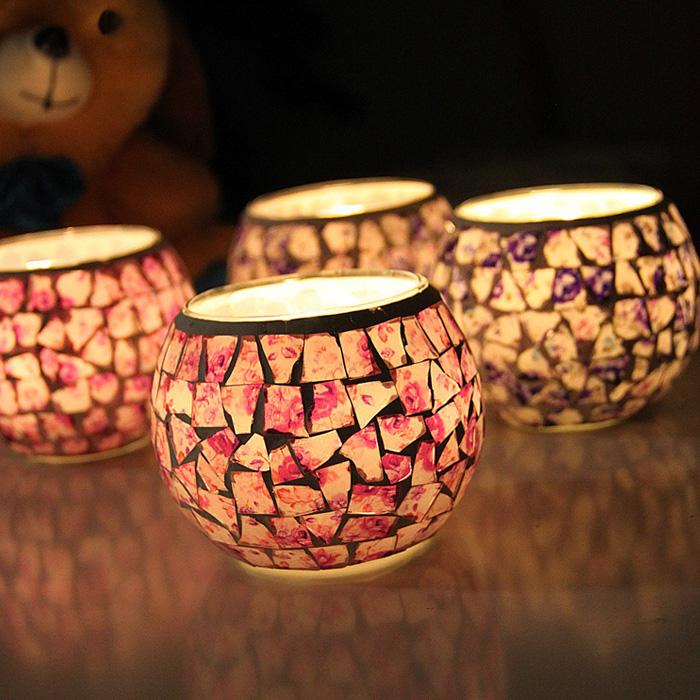 只包邮马赛克玻璃烛台欧式复古摆件礼品烂漫酒吧蜡烛杯家居饰品 2