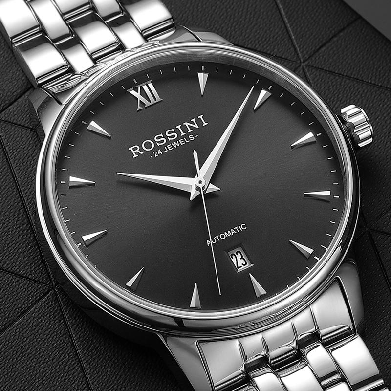 新款罗西尼手表男自动机械手表 617773  精钢防水商务休闲潮流男表
