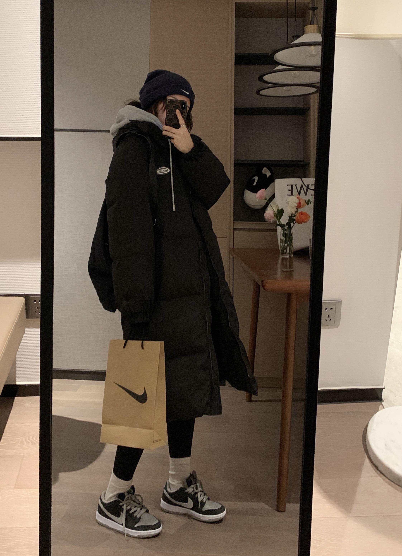 冬季新款韩版宽松显瘦过膝加厚白鸭绒外套 2020 羽绒服女中长款 VEEE