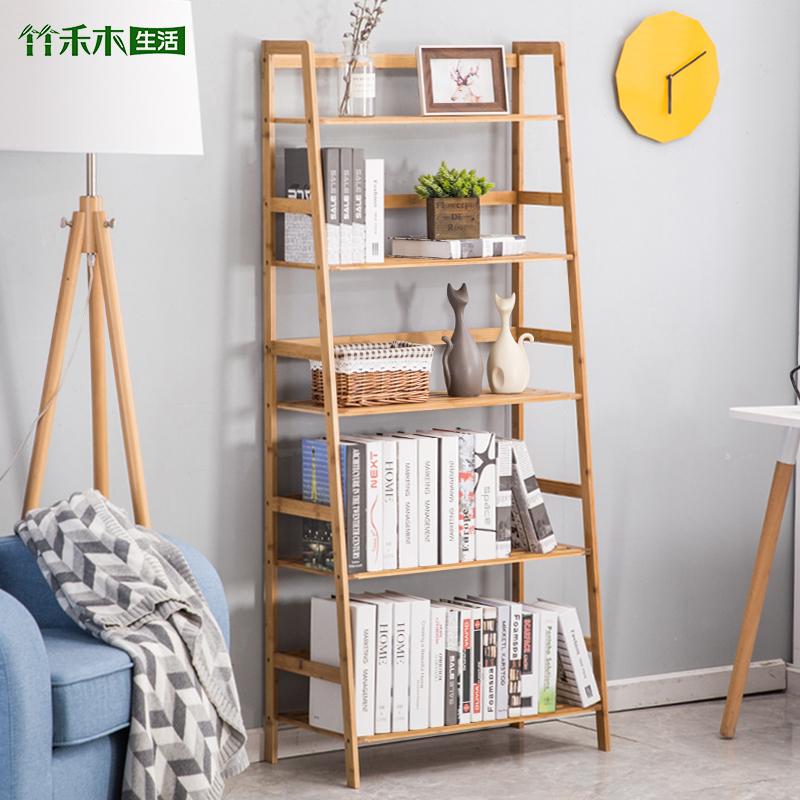 书架简易置物架楠竹现代多层落地宿舍儿童简约储物收纳架学生书柜
