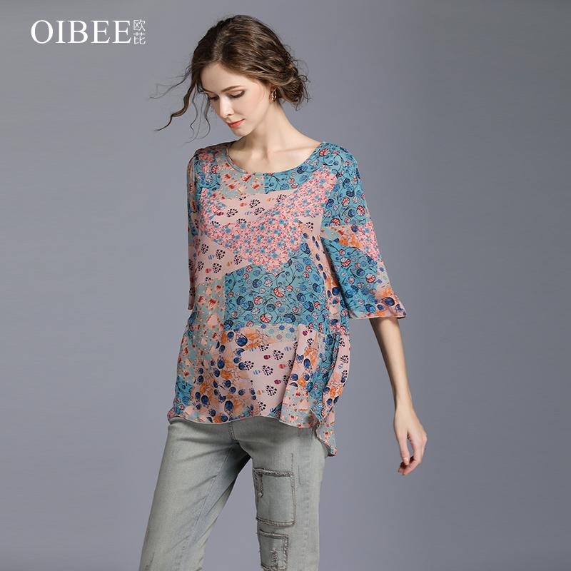OIBEE2018夏季新款女装真丝印花雪纺衫宽松大码女士短上衣