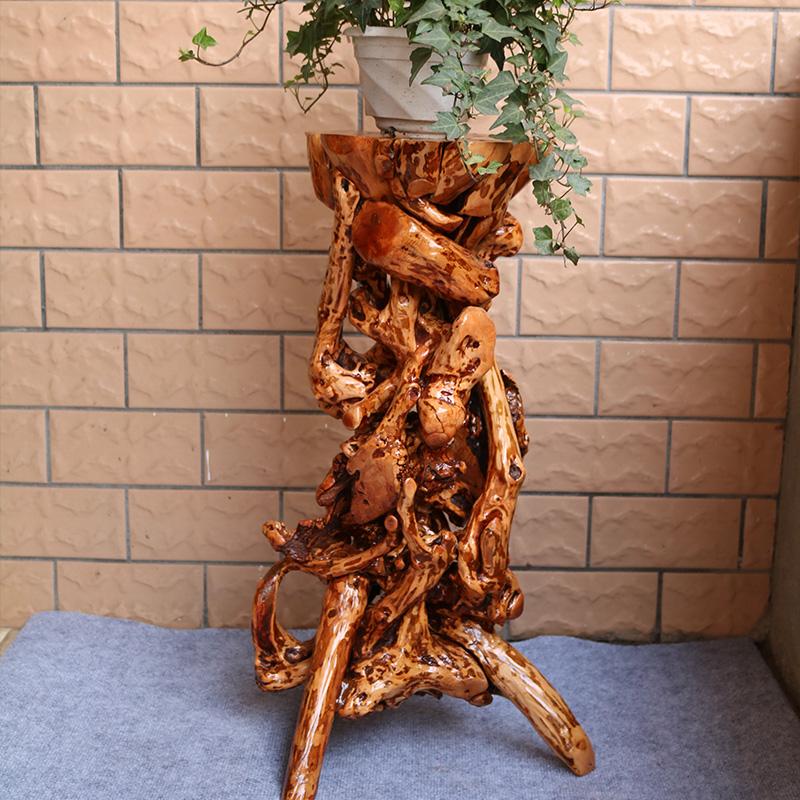 杜鹃根雕花架根雕底座客厅摆件天然实木树根盆景花架底座新品包邮