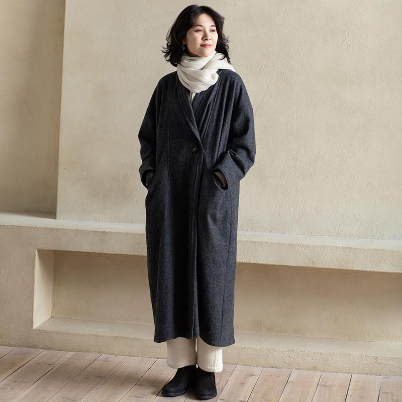 旅途原品 羊毛翻领毛呢外套女秋冬宽松长款过膝高端气质大衣-浓雾