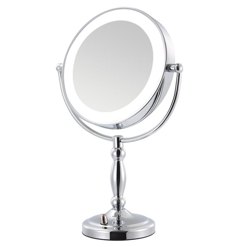 帝门特LED化妆镜带灯台式双面梳妆公主镜网红宿舍桌面补光镜子女