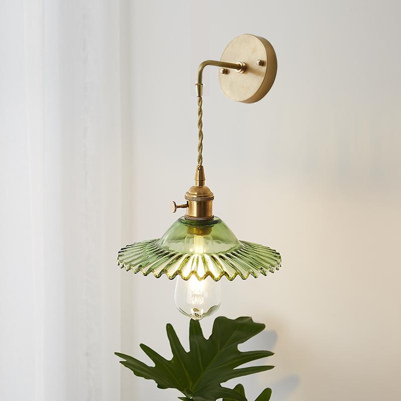 北欧日式黄铜后现代简约卧室床头墙壁客厅过道水晶玻璃镜前小壁灯