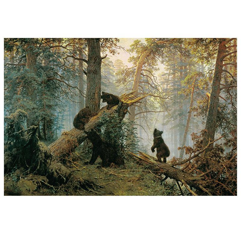 希施金松林的清晨鄉村森林風景系列精品定制布畫芯油畫歐式裝飾畫