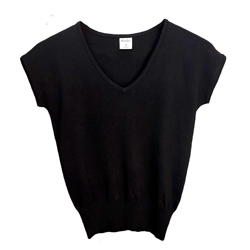 初秋薄款中袖针织衫罩衫早秋款薄新款百搭女冰丝 配高腰裤的上衣