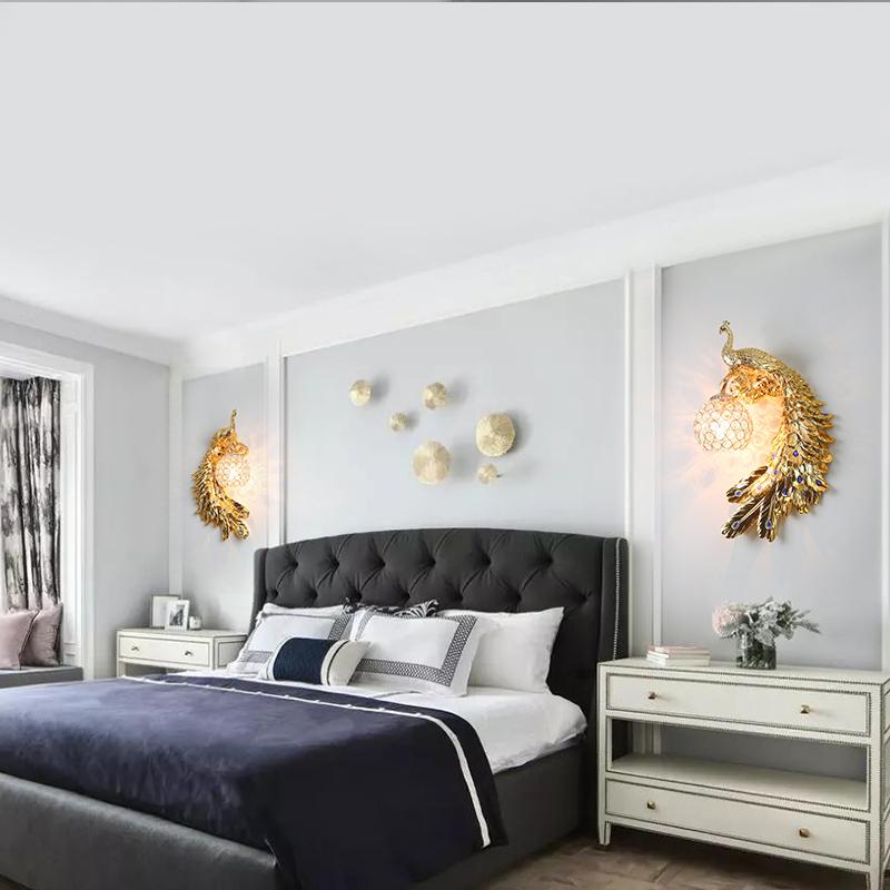 北欧卧室床头灯孔雀背景墙壁灯轻奢现代简约客厅过道创意奢华壁灯