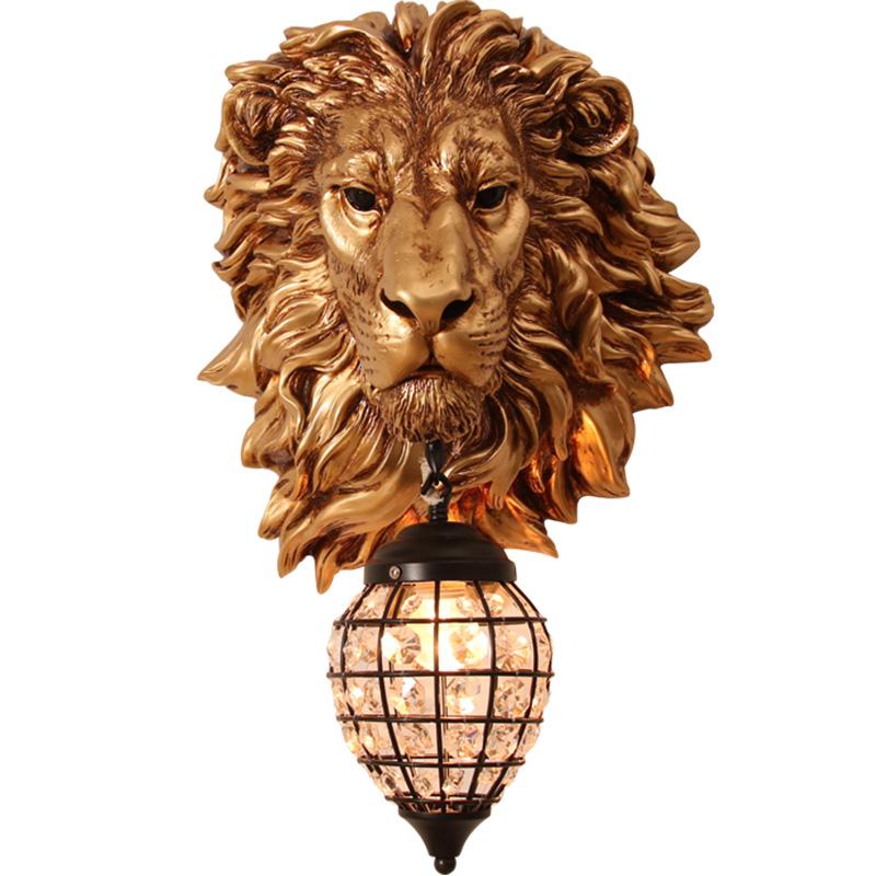 欧式复古大狮子头室内壁灯客厅卧室过道酒吧背景墙门前装饰品灯具