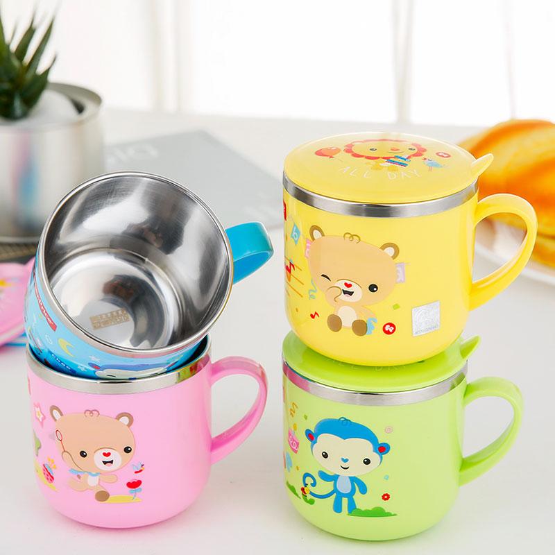 费雪儿童杯子防摔水杯带盖不锈钢家用幼儿园宝宝喝水口杯小学生孩