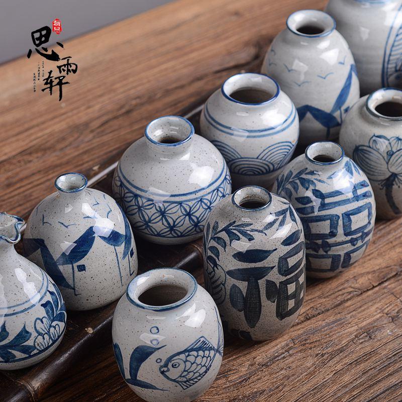 青花喜字粗陶花瓶 复古手绘小花器 陶瓷花插花瓶 茶道 家居摆件