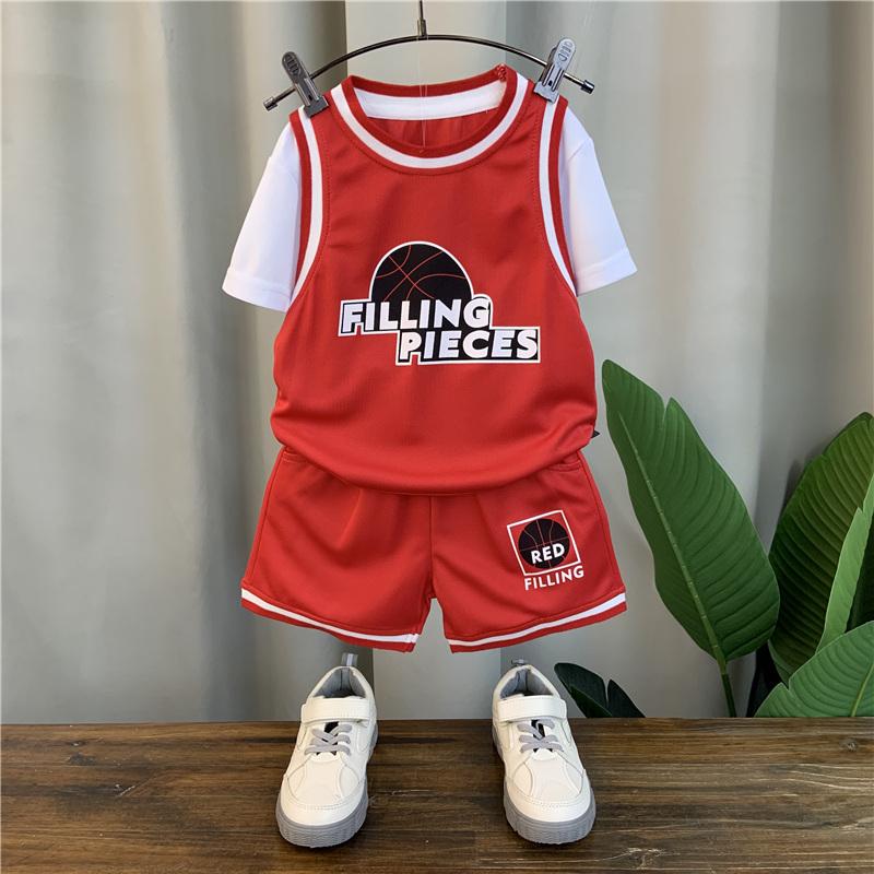 男童夏装套装 年新款洋气宝宝篮球服潮儿童帅气短袖运动两件套  2021