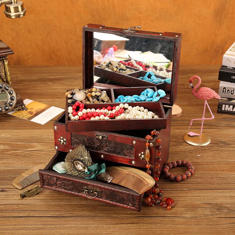 欧式复古珠宝首饰盒女小ins风饰品收纳带锁木质梳妆盒带镜子防尘