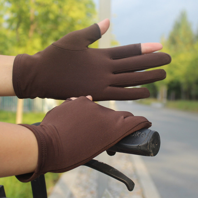 New men's and women's autumn and winter plus velvet fingerless gloves stretch tight touch screen games writing animation gloves riding sports