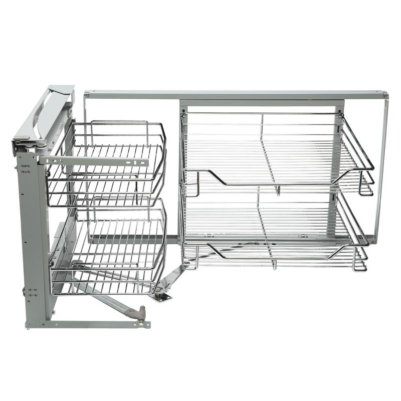浅居 厨房转角304不锈钢拉篮橱柜小怪物L型转角拉篮拐角联动拉篮