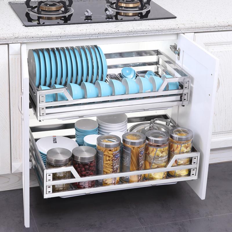 不锈钢双层缓冲抽屉式厨房橱柜调味架碗碟碗篮收纳架 304 浅居拉篮