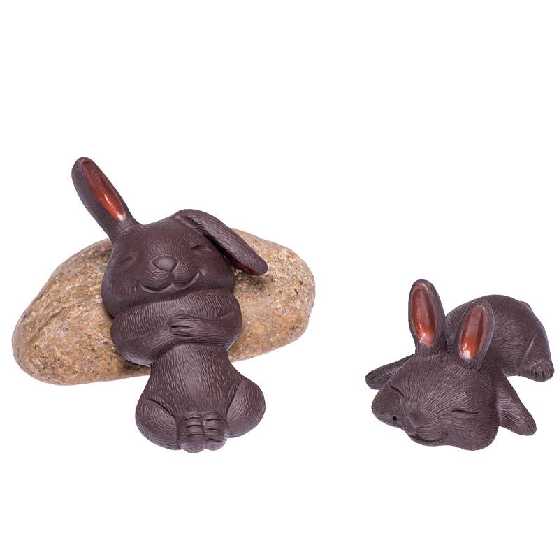 茶宠紫砂可养可爱小兔子雕塑拉毛生肖兔茶玩茶盘橱窗家居装饰摆件