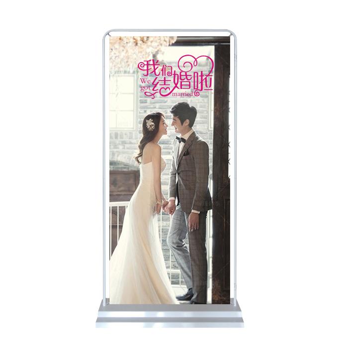 结婚海报迎宾海报定做制作绢丝布酒店婚礼油画布婚纱照海报X展架
