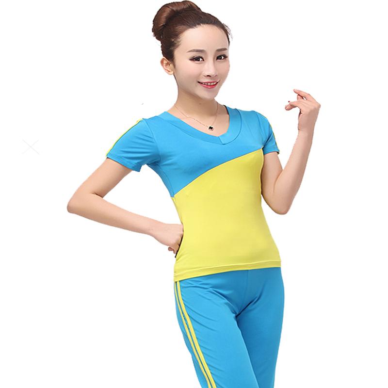 新款健美操服装男女套装女式运动服 春夏健美操瑜伽运动羽毛球服