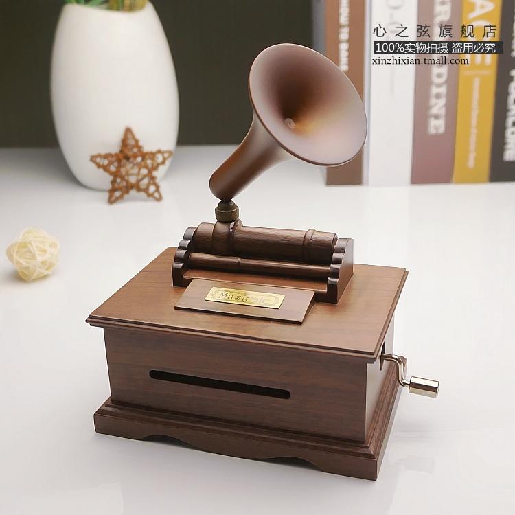 纸带留声机音乐盒木质手摇谱曲八音盒男友女生日礼物定制 DIY 音 30