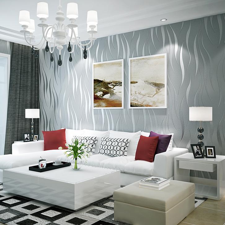立体波浪纹环保无纺布壁纸客厅卧室电视背景墙墙纸 3D 现代简约条纹