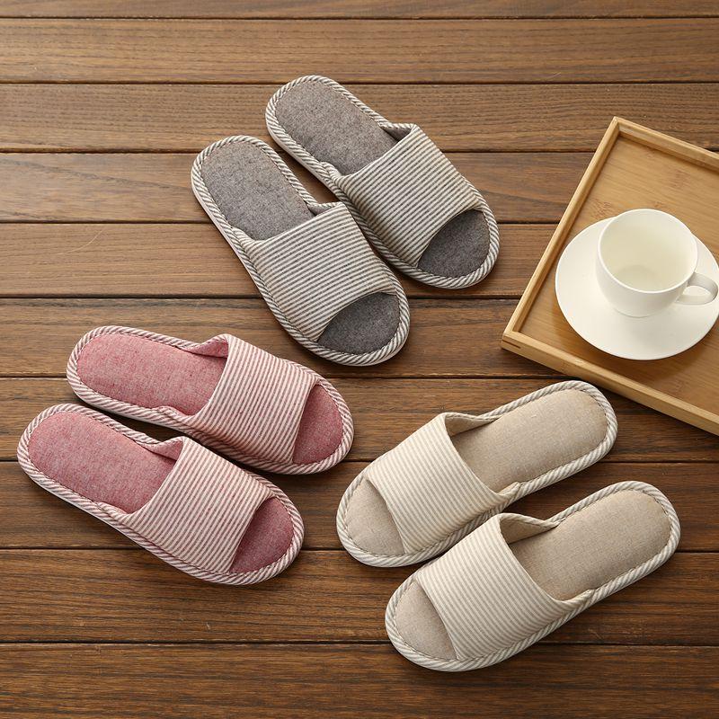 情侣棉拖鞋女夏日式亚麻居家室内木地板软底客人防滑鞋春秋季用布