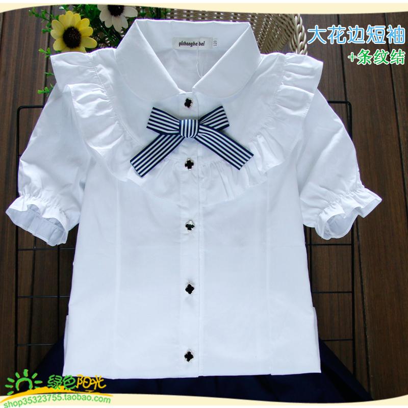 女童短袖襯衫白色中大童兒童純棉半袖翻領T恤夏季新款女孩演出服