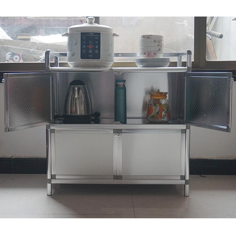 简易加厚组装不锈钢碗柜厨房柜茶水灶台柜铝合金阳台储物柜餐边柜