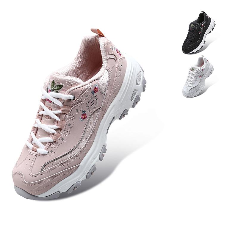 11977 刺绣绣花鞋 小白鞋熊猫鞋 lites D 斯凯奇女鞋新款 Skechers