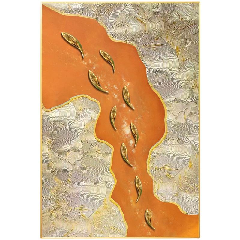 手繪油畫九魚圖立體現代簡約玄關橙色裝飾畫客廳輕奢豎版掛畫定制