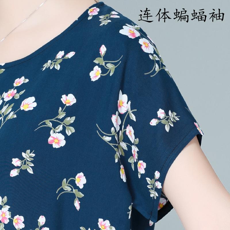中老年加大码女装上衣 妈妈装棉绸T桖 2021新款人造棉T桖夏季胖MM