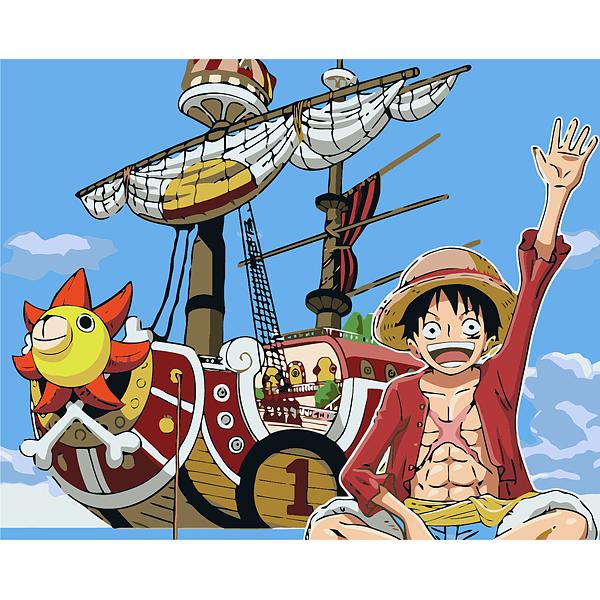 海賊王diy手自繪數字油畫油彩畫卡通動漫情侶兒童填色裝飾畫路飛