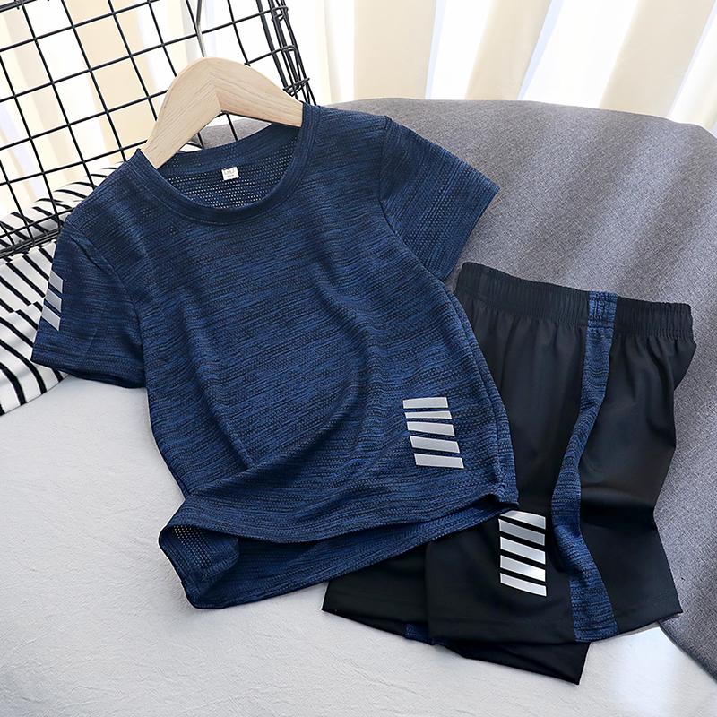 男童运动套装童装薄中大童速干短袖短裤两件套儿童夏装女童 恤潮  t