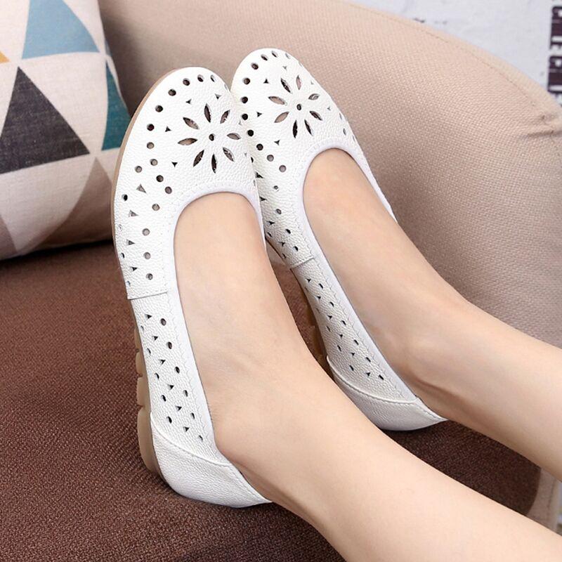鏤空女涼鞋平底真皮牛筋底舒適透氣護士白色工作豆豆媽媽單鞋洞洞