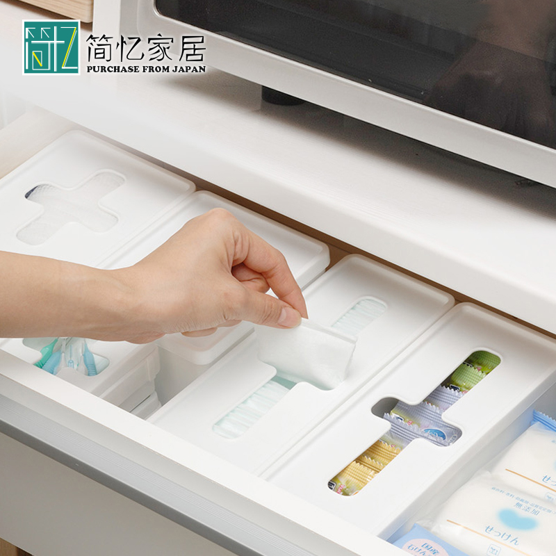 日本進口inomata塑料袋小物收納盒十字口儲物盒整理盒抽屜收納箱